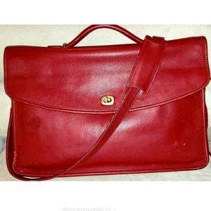 Coach VTG Lexington Red Leather Messenger/Briefcas